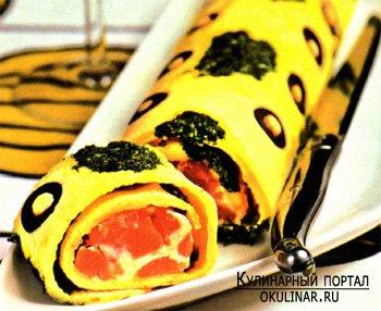 Закусочный омлет с маслинами. Рецепт с фотографией